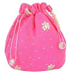 Ladies Girls Bridal Wedding Evening Party Drawstring Pink Silk Potli Bag Clutch…