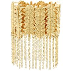 Steve Madden Leaf Design Link & Cable Chain Fringe Bracelet ($36) ❤ liked on Polyvore featuring jewelry, bracelets, gold, gold jewelry, yellow gold jewelry, gold leaf jewelry, leaf jewelry and fringe jewelry