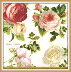 SALE *** TWO Paper napkins for DECOUPAGE - Pink and White Roses #350 by VintageNapkins on Etsy