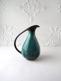 Vintage Teal Midcentury Canadian Pottery Vase / 7 by foundshop, -SOLD-