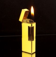 DUNHILL+LIGHTER+~+18+K+GOLD+~+BEAUTIFUL+YELLOW+CHINESE+LACQUER+~+ULTRA+RARE+~+EXCELLENT+!!!