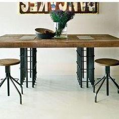 Reclaimed wood & rebar table