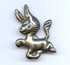 Vtg 1940s Coro Silver Mexico Burro Donkey Brooch Pin 10.8 Grams Hector Aguilar
