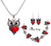 Wish | Women Retro Tibetan Silver Turquoise Crystal Pendant Necklace Bracelet Earrings Set Jewelry Sets