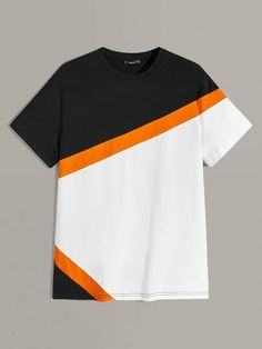 Men Neon Panel Cut-and-sew Tee Dope Outfits For Guys, Swag Outfits Men, Boys T Shirts, Tee Shirts, Polo Tees, African Clothing For Men, Le Polo, Tee Shirt Designs, Polo Shirt Design