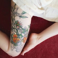amazing thigh tattoo -- been wanting a big lovely thigh tat for awhile
