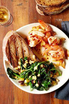 Garlic Shrimp and Catalan Spinach