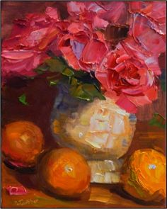 not poppy, but...  Three's Company , 8x10, oil on wrapped Belgian linen-paintings of roses, oranges, pink roses, impressionist roses, impasto, MAryanne Jacobsen, painting by artist Maryanne Jacobsen