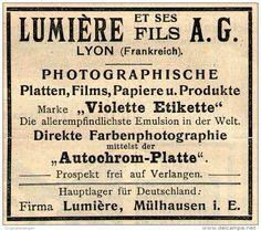Original-Werbung/ Anzeige 1909 - LUMIÈRE -PLATTEN / PHOTO PAPIERE / MÜLHAUSEN IM ELSASS - ca. 65 x 55 mm