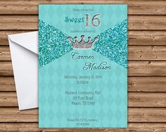* Elegant Turqoise Tiara Sweet 16 Invitation * or Flat Card * Printed Process on One side * Printed on gloss cover stock * Bright White Envelopes Are Included Sweet 16 Birthday, 16th Birthday, Birthday Party Themes, Sweet 16 Invitations, Custom Invitations, Birthday Invitations, Sweet 16 Party Supplies, Quinceanera Invitations, Sweet 16 Parties