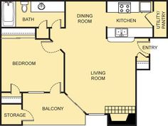 Da Vinci Floor Plan - 1 Bath with approximately 683 square feet. 2 Bedroom Floor Plans, Kitchen Utilities, Small Studio, Square Feet, The Neighbourhood, Relax, Bath, Flooring, How To Plan