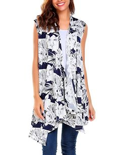 bab03f785d81 Meaneor Women s Solid Color Sleeveless Asymetric Hem Open Front Cardigan  Vest Cover Up  Amazon.co.uk  Clothing