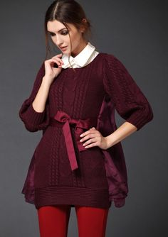 Wine Red Contrast Organza Cable Knit Sweater - STDRESSES