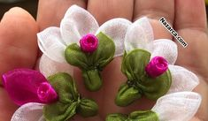 Organza ribbon lace making elif shave – Embroidery Desing Ideas Ribbon Art, Ribbon Crafts, Flower Crafts, Diy Flowers, Crochet Flowers, Fabric Flowers, Paper Flowers, Ribbon Embroidery Tutorial, Silk Ribbon Embroidery