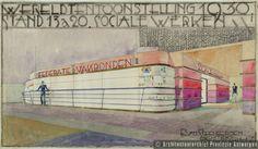 Stand in het paviljoen van de Federatie van Vakbonden op de wereldtentoonstelling van Antwerpen (1930) | photo credit: Architectuurarchief Provincie Antwerpen, found on the website: http://www.debalansvanbraem.be