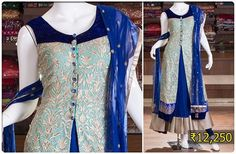 The royal blue shade anarkali suit with front open long jacket is simple yet beautiful. The intricately woven embroidery blue jacket of this dress is the fab point. This ensemble offers two different looks for casual and party dressing.