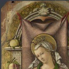 Carlo Crivelli - Madonna con Bambino, dettaglio; pannello centrale Polittico del 1476 (o Polittico di San Domenico o, impropriamente, Polittico Demidoff) - 1476 - National Gallery di Londra
