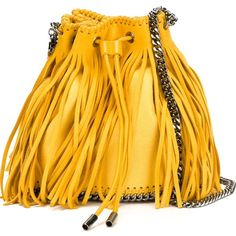 Stella McCartney 'Falabella Sun' fringed bucket shoulder bag ($1,310) ❤ liked on Polyvore featuring bags, handbags, shoulder bags, faux leather shoulder bag, leather shoulder handbags, yellow leather handbag, fringe handbags and leather bucket purse