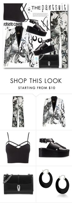 """""""The Pantsuit: Roberto Cavalli"""" by queenvirgo ❤ liked on Polyvore featuring Roberto Cavalli, Charlotte Russe, Alexander Wang, Class Roberto Cavalli, Bling Jewelry, thepantsuit and plus size clothing"""