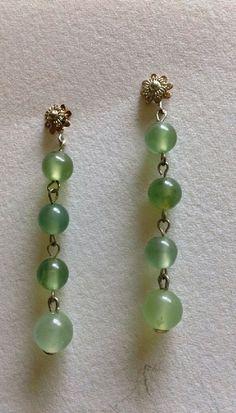 Victorian style natural Jade Jadeite drop Earrings