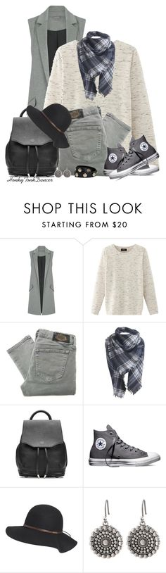 """""""Grays and Black"""" by honkytonkdancer ❤ liked on Polyvore featuring Nolita, Diesel, rag & bone, Converse, Billabong, Lucky Brand, Versace, converse, vest and fallfashion"""