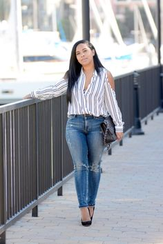 """""""Cut out Shoulder Blouse"""" Major Must Haves Fashion Wear, Denim Fashion, Fashion Outfits, Lit Outfits, Cool Outfits, Divas, Denim Style, Swag Style, My Style"""