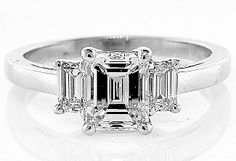 Shop for on Etsy, the place to express your creativity through the buying and selling of handmade and vintage goods. Emerald Cut Diamond Engagement Ring, Three Stone Engagement Rings, Emerald Cut Diamonds, Diamond Are A Girls Best Friend, Jewels, Classic, Stuff To Buy, Etsy, Vintage