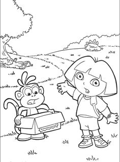 dora and boots to lose an object coloring pages dora the explorer cartoon coloring pages - Cartoon Colouring In Pictures