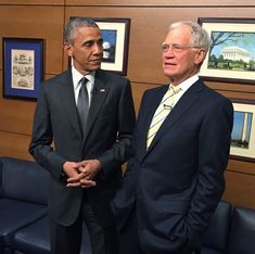President Obama backstage with David Letterman. First Black President, Mr President, Michelle And Barack Obama, Black Presidents, Important People, News Media, American Idol, Archetypes, Ethnic Diversity