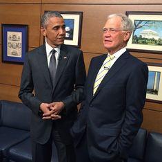 President Obama backstage with David Letterman.