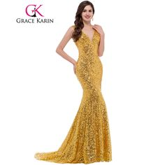 * Material: Sequins  * Color: Golden, Black, Blue, Red  * Item Description:  1) Deep V ...     Tag a friend who would love this!     FREE Shipping Worldwide     Buy one here---> https://www.savingsonfashion.com/grace-karin-luxury-long-evening-dress-sequin-mermaid-evening-gown-deep-v-red-golden-formal-prom-dresses-robe-de-soiree-longue/