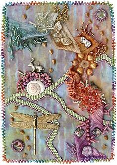 Crazy quilting - LOVE - I've gotta try this dragonfly design.