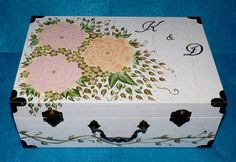 Custom Wedding Keepsake Box Hand Painted Wood Suitcase Box