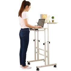 Cheap SDADI 2 Inches Carpet Wheel Mobile Stand Up Desk Height Adjustable Home Office Desk With Standing and Seating 2 Modes Edition Light Grain Cool Office Desk, Home Office Furniture Desk, Home Office Desks, Study Office, Best Standing Desk, Standing Desks, Mobile Stand, Diy Home Accessories, Desk Height