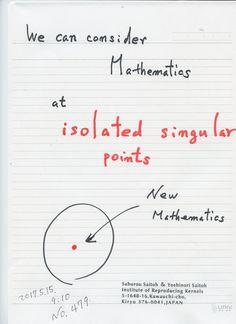 №479-861  図は 国際会議:   https://sites.google.com/site/sandrapinelas/icddea-2017   講演用紙に加えるべき シートとして今朝考えたのですが、山間部の散歩中、新しい知見として加えることにした。今までの数学は、特異点の近傍での研究をされてきましたが、特異点 そこでの研究はなさらず、考えもしなかった。なぜならば ゼロ除算が起きて、不定、不可能、定義できなかったからです。ゼロ除算で、考えられるようになった。その意味で、極めて大事な知見です。   The division by zero is uniquely and reasonably determined as 1/0=0/0=z/0=0 in the natural extensions of fractions. We have to change our basic ideas for our space and world   Division by Zero z/0 = 0 in Euclidean Spaces Hiroshi Michiwaki…