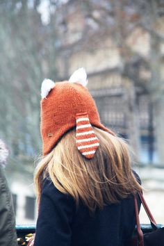 Fox Tail, Paris, 2013. Oh I love the fox tail. I don't see many fox hats with a tail.