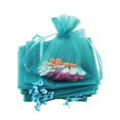 "Free Shipping Brand New 50 Pieces Teal Blue 4""x6"" 10cm x 15cm Strong Sheer Organza Pouch Wedding Favor Gift Candy Bag Hot Sale $5.99"