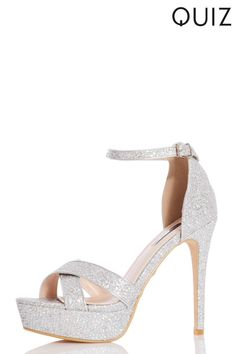2a2cca044b26 Womens Quiz Glitter Cross Strap Platform Heels - Silver