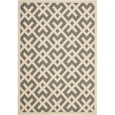 This power-loomed indoor and outdoor rug offers a contemporary look with its geometrical pattern. Colors of gray and bone crisscross to make your floor stand out. This rug is built to resist sun, water, mildew, mold, and other weather elements.