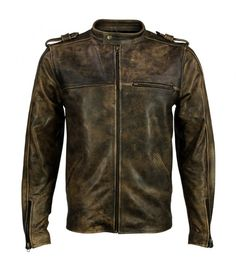 VIPARO | Distressed Beige Cafe Racer Leather Jacket - Brad