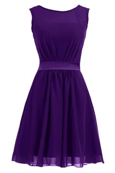 Sunvary Summer Short Chiffon Sheath Mother of the Bride Dresses Bridemaid Dress- US Size 14- Purple