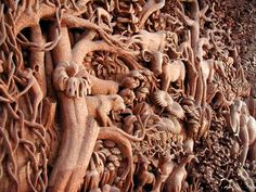 wooden door with metal flowers - Google Search