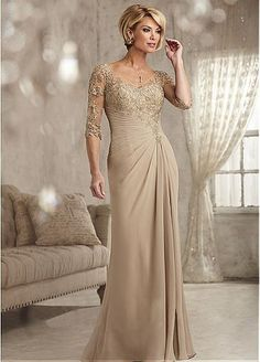 Romantic Chiffon V-neck Neckline Sheath Mother Of The Bride Dress With Lace Appliques