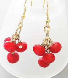 Red  Faceted Crystal Gold Fishhook Dangles Earrings/ by BijiBijoux,