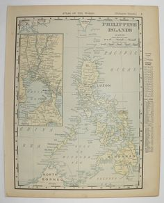 Antique Philippines Map Vintage Old Map of Philippine Islands Manila 1900 Unique Gift Under 20 Anniversary Gift for Home Office Genealogy by OldMapsandPrints Vintage Maps, Antique Maps, Etsy Vintage, Middle East Map, Philippines, Philippine Map, 20th Anniversary Gifts, Us State Map, Asia Map