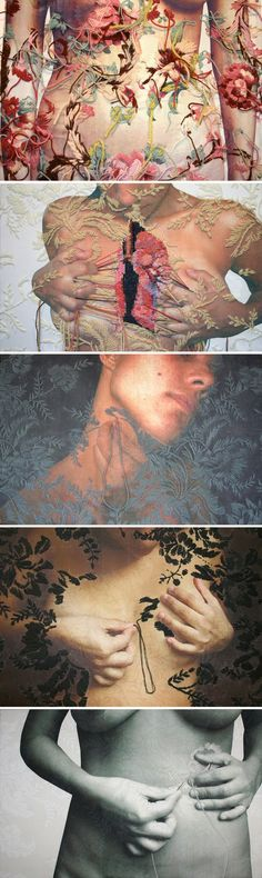 Ana Teresa Barboza; Barboza uses a combination of embroidery and photography to create sensitive compositions to reveal messages. She embroiders elegant floral designs on carefully selected photographs arranged to convey a relationship between the two subjects. The bare skinned models have carefully stitched arrangements which appear that the models is stitching into there skin or tearing it apart to reveal a complex embroidered design of the anatomy.