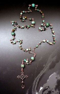 Genuine African Turquoise Antique Copper Catholic by IslandGirl77#1stcommunion