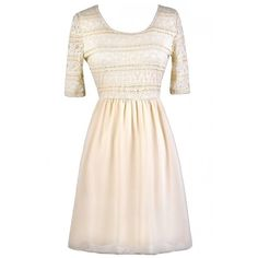 Chrissy Lace and Chiffon Dress in Cream ($45) ❤ liked on Polyvore featuring dresses, chiffon dresses, lace dress, pink dress, pink lace dress and frilly dresses