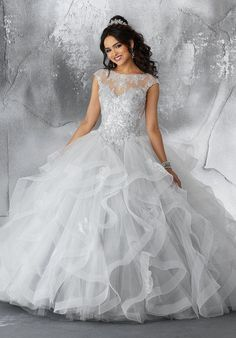 Sequined Cap Sleeve Quinceanera Dress by Mori Lee Vizcaya 89198 Mori Lee Quinceanera Dresses, Prom Dresses, Wedding Dresses, Tulle Ball Gown, Ball Gowns, Satin Tulle, Tulle Fabric, Sweet 15 Dresses, Beautiful Dresses