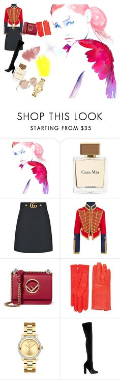 """Daring"" by ahdelnosh on Polyvore featuring Etienne Aigner, Gucci, Burberry, Chanel, Fendi, Hermès, Movado and Elie Saab"
